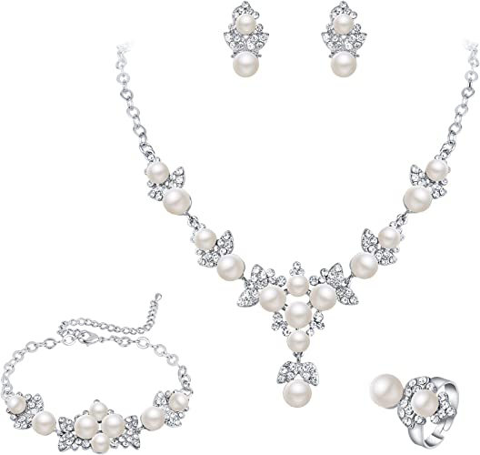New Crystal tennis drop necklace earrings silver bridal necklace Jewellery set