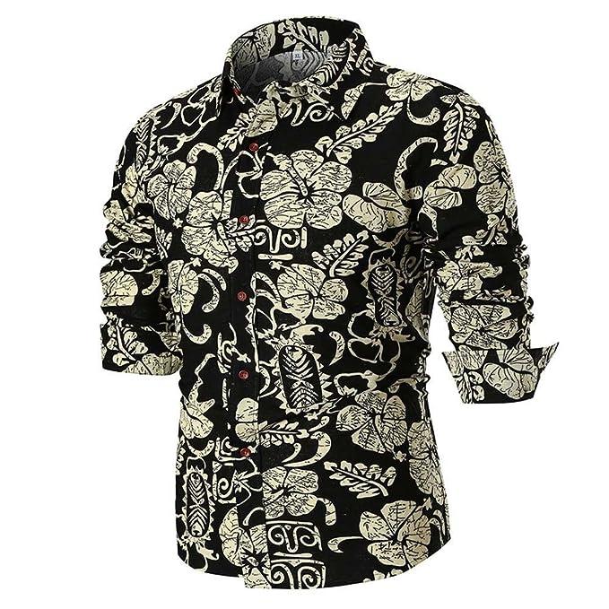 Camisa para Hombres,ZARLLE Moda Transpirable Camiseta para Hombre Casual Manga Larga Negocio Ajustado Impresión Retro Negocio Botón Formal Blusa Tops Camisa ...
