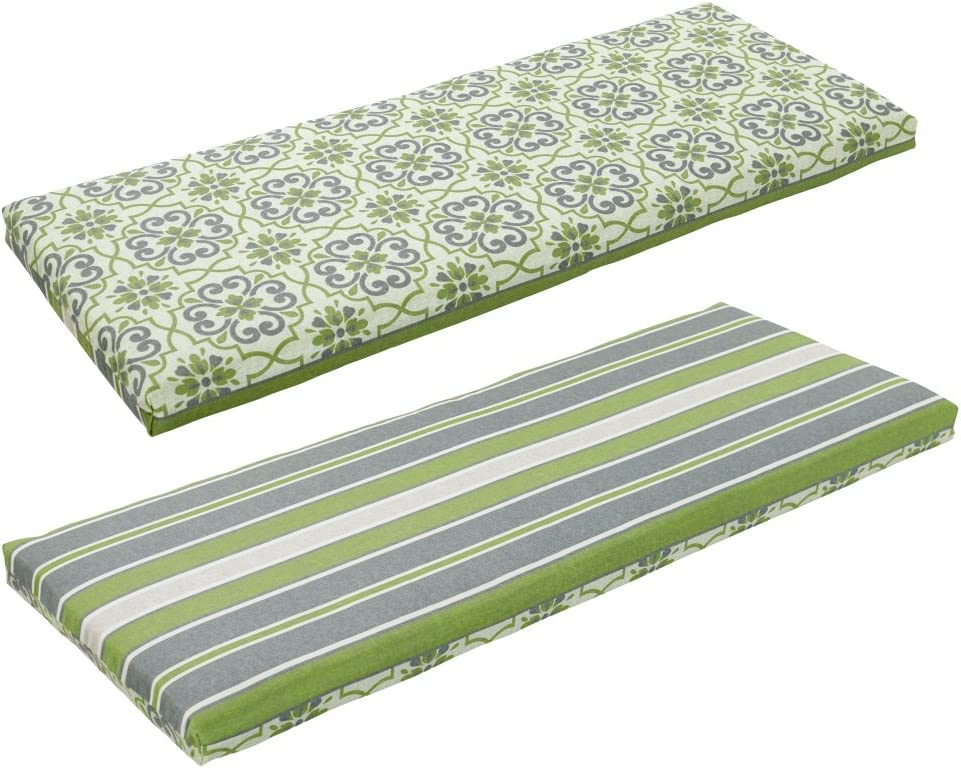Bossima Indoor Outdoor Green Grey Damask Striped Reversible Bench Cushion