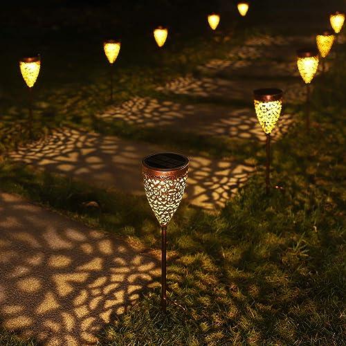 4 Pack Solar Lights Outdoor, Garden Pathway Lights, Metal Decorative Stakes, Waterproof LED Landscape Lighting for Deck Walkway Patio Yard Lawn