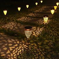 4x Lámpara Solar para Jardín, Luces Solares Impermeables Iluminación de Exterior, IP44, Lámpara Solar Decorativa para…