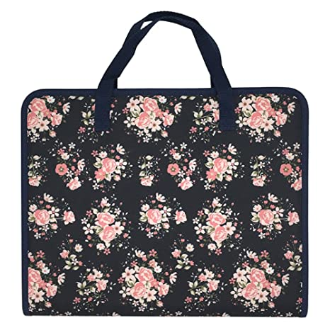 9ed4546bb563 Ozzptuu Floral Printed Canvas A4 Size 13 Pockets Expandable File Folder  Accordion Document Organizer with Portable Handle