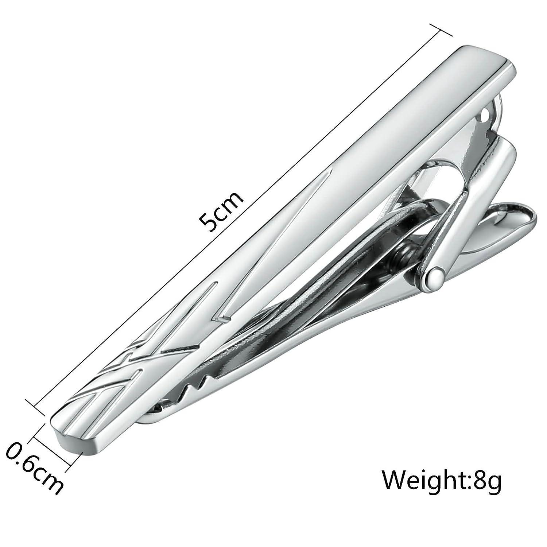 KnSam Stainless Steel Tie Clips for Mens Stripe Cross Silver Tie Bar