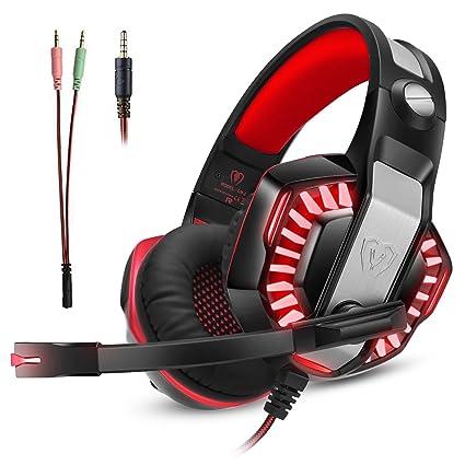 Microlindun Gaming Headset Micrófono PC Auriculares Gamer con micrófono 3.5mm Bass Stereo Control de volumen