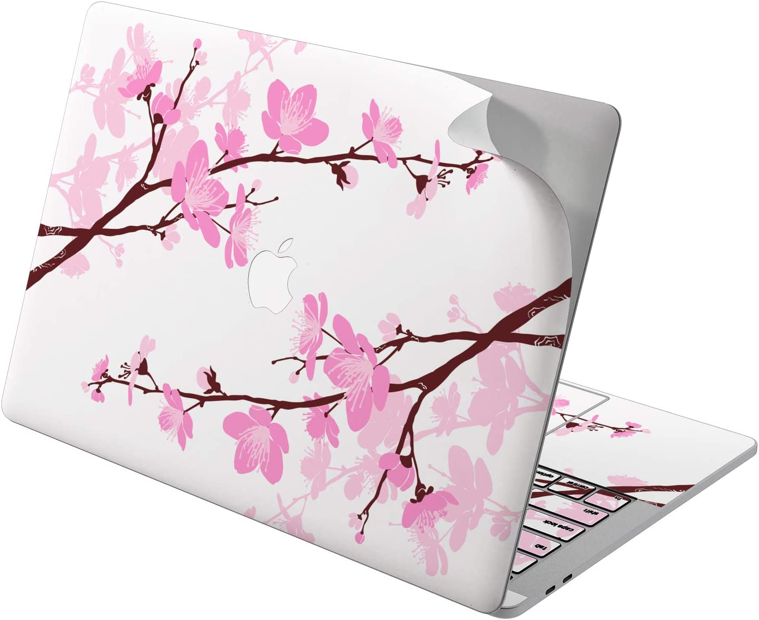 "Cavka Vinyl Decal Skin for Apple MacBook Pro 13"" 2019 15"" 2018 Air 13"" 2020 Retina 2015 Mac 11"" Mac 12"" Protective Sticker Print Sakura Art Design Girl Pink Laptop Flowers Cherry Cover Branch Blossom"