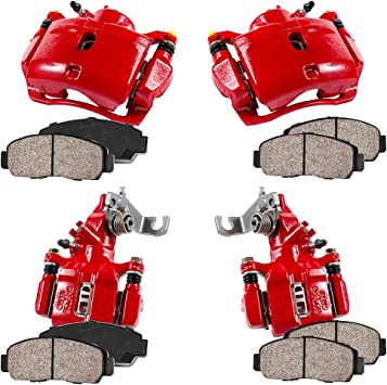 CCK01383 FRONT Ceramic Brake Pads 4 Performance Grade Loaded Powder Coated Black Remanufactured Calipers REAR