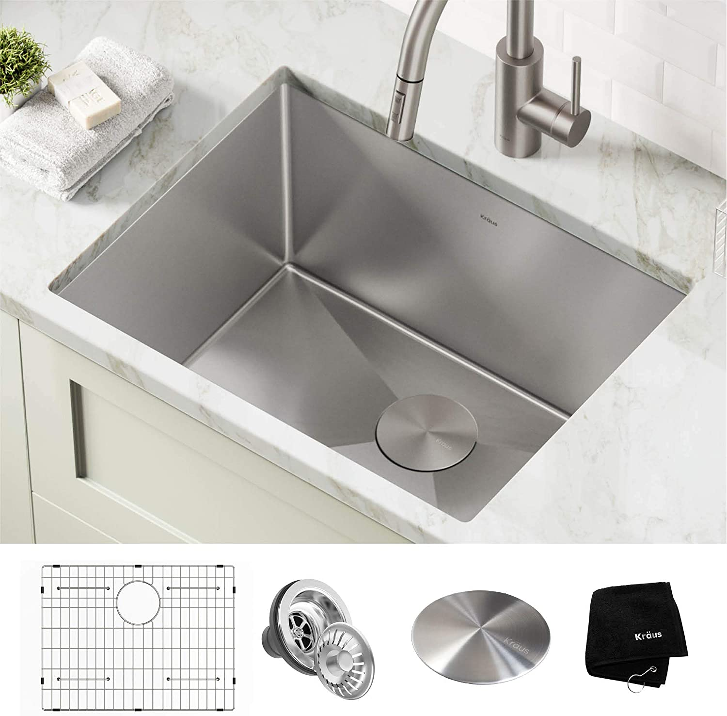 Kraus KHU101-24L Standart PRO 24-inch Undermount 16 Gauge Single Bowl Laundry and Utility Sink, Stainless Steel Extra Deep