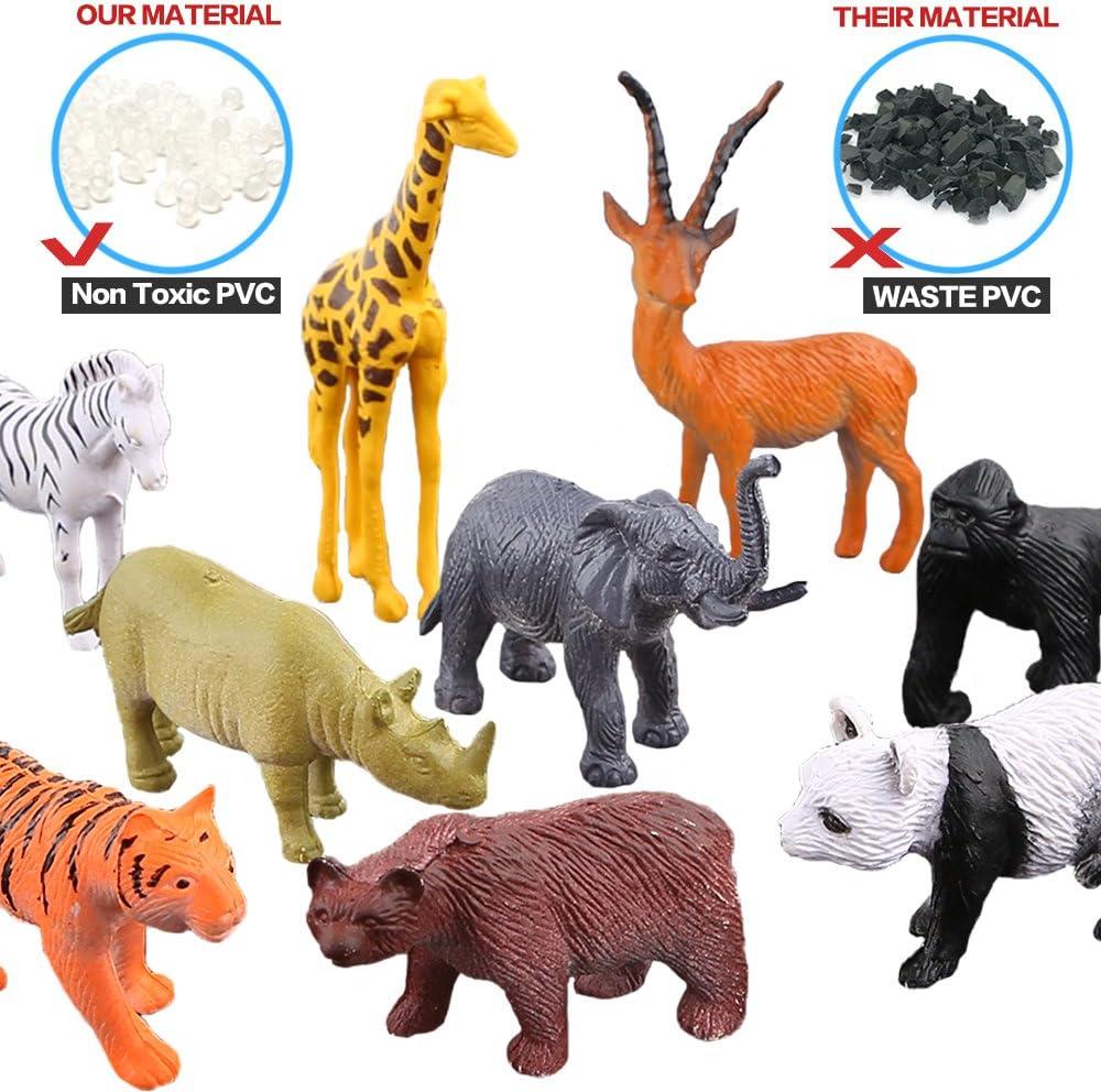 18 x Wild Animali Zoo Safari Giocattolo Animali Figure di buona qualità per Bambini Regalo