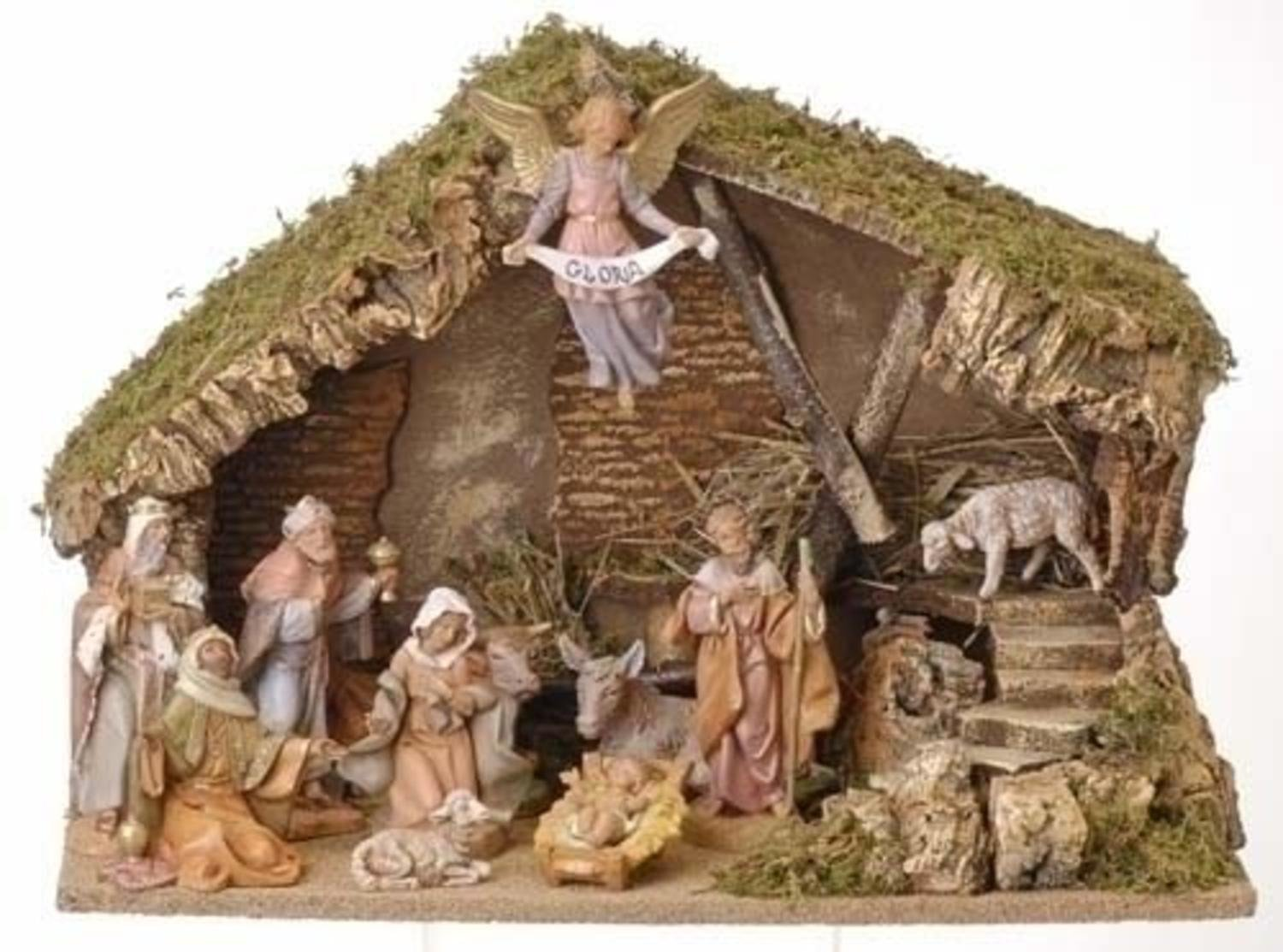 12-Piece Fontanini 5'' Christmas Nativity Set with Italian Stable #54490