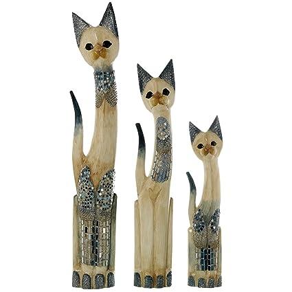 DRW - Set de 3 Figuras de Gatos de Madera albasia adornadas con Zonas con Cristales