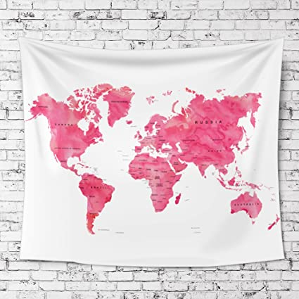 Amazon ileadon watercolor world map tapestry wall hanging ileadon watercolor world map tapestry wall hanging light weight polyester fabric wall decor for gumiabroncs Image collections