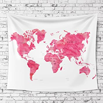 Amazon ileadon watercolor world map tapestry wall hanging ileadon watercolor world map tapestry wall hanging light weight polyester fabric wall decor for gumiabroncs Gallery
