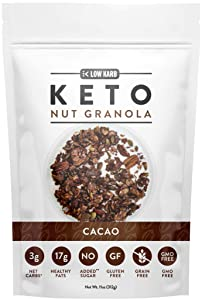 Low Karb - Keto Cacao Nut Granola Healthy Breakfast Cereal - Low Carb Snacks & Food - 3g Net Carbs - Almonds, Pecans, Coconut and more (11 oz) (1 Count)