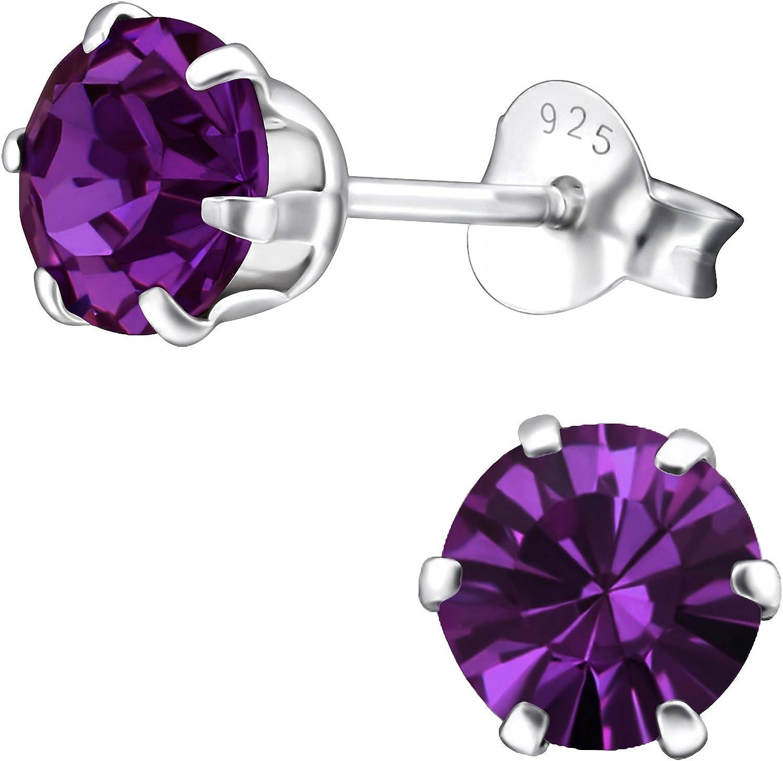 EYS JEWELRY® Pendientes para señora círculo redondo 6 x 6 mm Swarovski Elements Cristal plata de ley 925 amatista-púrpura con la caja Pendientes mujer