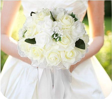 Bouquet Sposa Unica Rosa.Bouquet Da Sposa Con Fiori In Nastro Fucsia Avorio Rosa Bianca