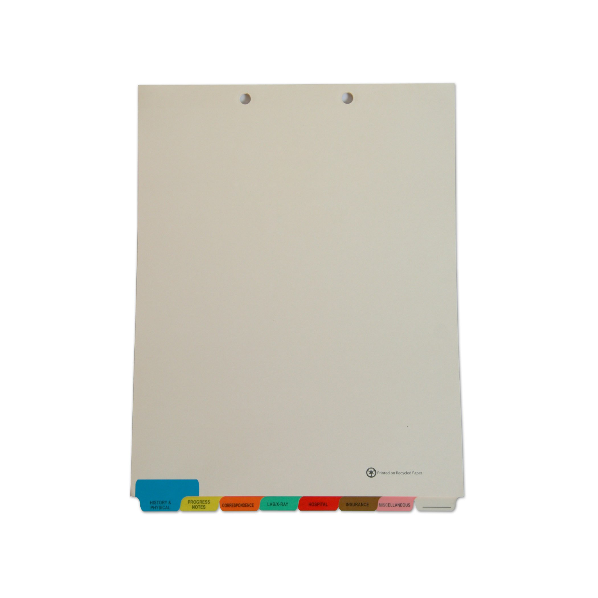 Medical Chart Index Dividers- 8 Tabs, Letter Size, Manila, End Tab (50/Box)