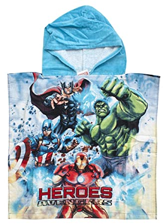 The Avengers Niños Vengadores Héroes Capucha Baño Toalla Playa Poncho Talla Única 5 To 12 Años - Azul, One Size: Amazon.es: Hogar