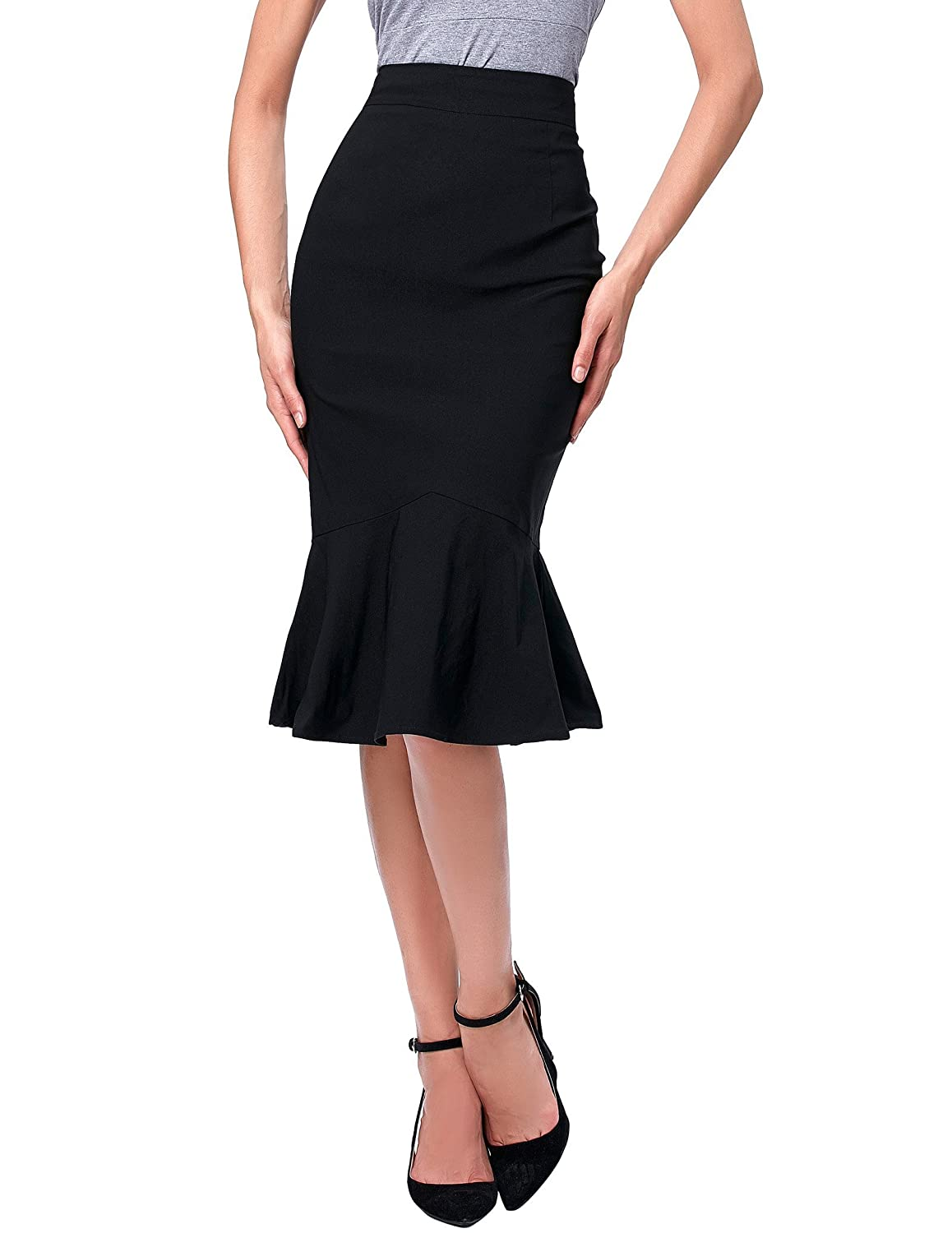 Agent Peggy Carter Costume, Dress, Hats Kate Kasin Womens Wear to Work Stretchy Pencil Skirts $16.99 AT vintagedancer.com