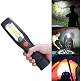 LED Cordless Work Light COB Rechargeable Portable Hand Held Work Lamp With Hanging Hook, Magnetic Holders, 110V & 12V Charging, Multifunction Flashlight