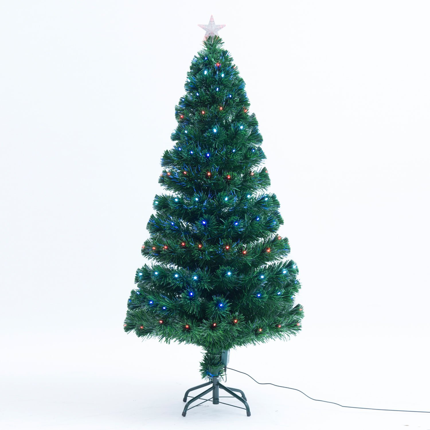 Homcom 3Ft 4Ft 5Ft Green Fibre Optic Artificial Christmas Tree