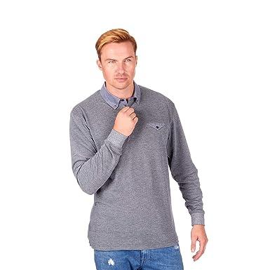 ea78078d Metzuyan Men's Long Sleeve Pique Polo Shirt Chambray Collar: Amazon.co.uk:  Clothing