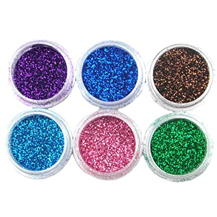 Coscelia 6 Pcs Colores Purpurinas Polvos Brillo Glitter Brillantina