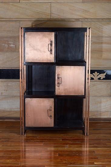 Terroso Vitrine Aus Massiv Holz Und Metall 90 X 140 X 35 Cm 6 Fächer