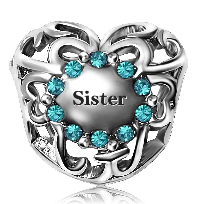 JMQJewelry Sister Heart Love Charm Birthstone Jan- Dec 12 Color Christmas Charms Bead For Bracelets