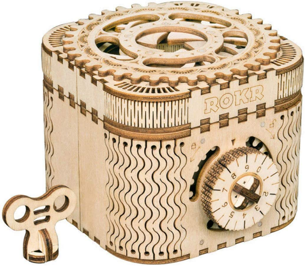 ROKR Caja del Tesoro 3D en Madera,3D Rompecabezas de Madera Kit de Construcción Sin Pegamento para Niños y Adultos