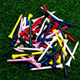 THIODOON Golf Tees Professional Natural Wood Golf Tees Pack of 100, Golfing Tees Multiple Colors Size 3-1/4 inch, 2-3/4…