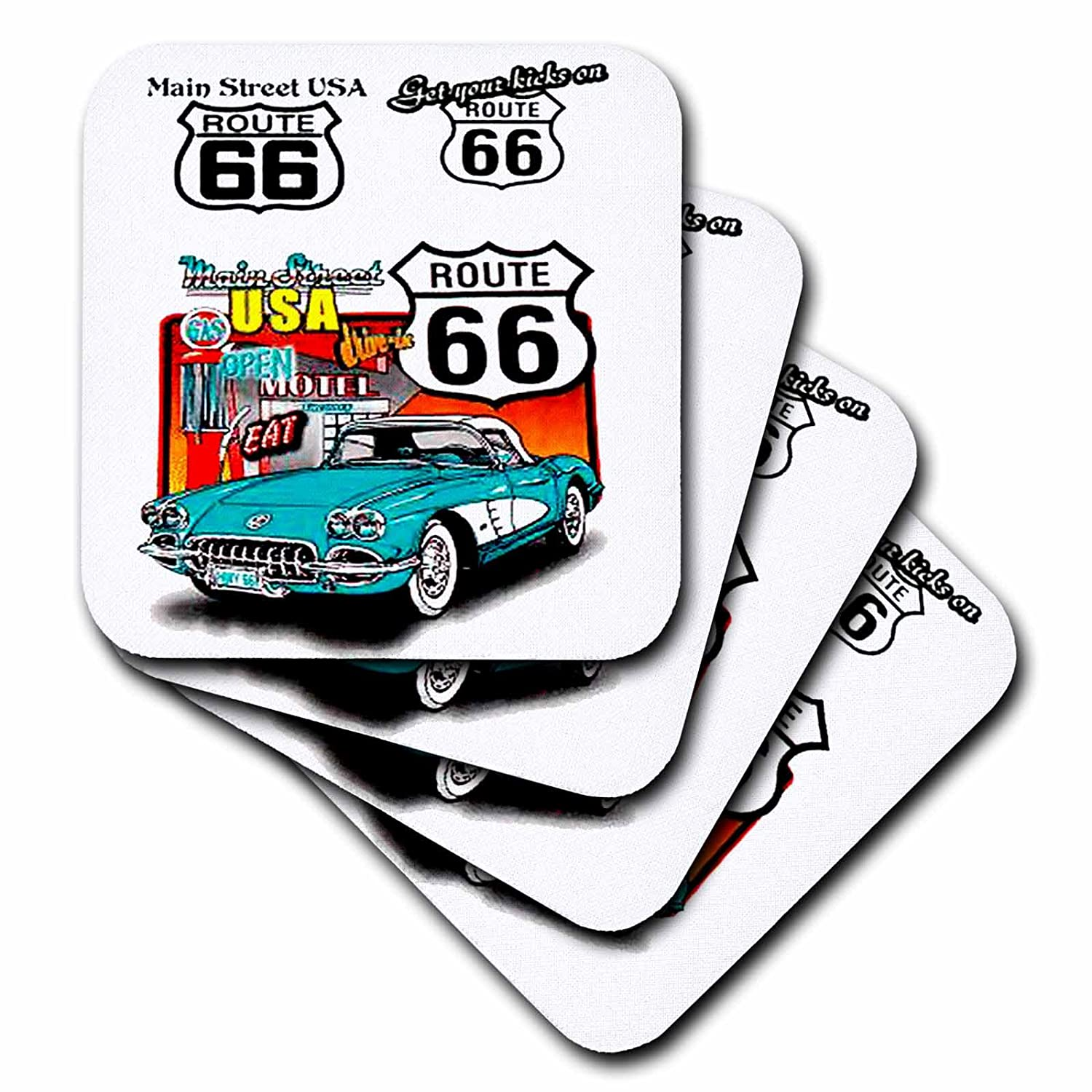 Set of 8 3dRose cst/_1010/_4 Route 66 Ceramic Tile Coasters