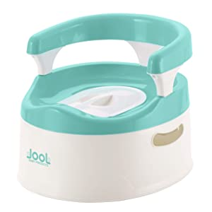 Child Potty Training Chair for Boys and Girls, Handles & Splash Guard - Comfortable Seat for Toddler Aqua - Jool Baby (Aqua)