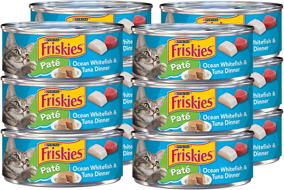 Purina Friskies Pate Wet Cat Food, Ocean Whitefish Tuna, 5.5 OZ Cans (12-Count)