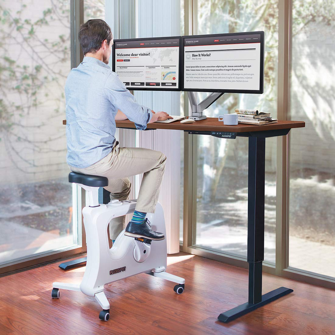 FlexiSpot Electric Height Adjustable Desk with Under Desk Bike Sit Stand Move Solution by FLEXISPOT