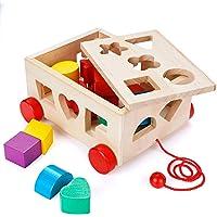 Lalia Nachzieh Holzspielzeug, Kubus, Motorik Spielzeug, bunt, Holz Spielzeug 2+ Geschenk Kinder Kleinkinder