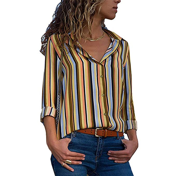 Fräulein Fox Primavera Otoño Mujeres Blusa Moda Solapa Camisetas de Manga Larga Tops Casual Rayas Patchwork