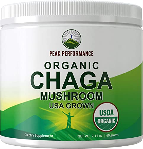 USDA Organic Chaga Mushroom Powder USA Grown by Peak Performance. Immunity Support Mushroom Powders Extract Vegan Supplement. Naturally Harvested Raw Powdered Mushrooms. Adaptogenic, Beta Glucans