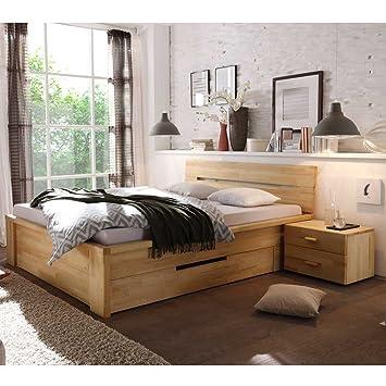 Pharao24 Bett Mit Schubladen Kernbuche Massivholz Breite 170 Cm Ohne