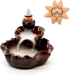 Pretty Jolly Ceramic Backflow Incense Burner Cone Lotus Incense Holder Waterfall Meditation Incense Holder for Home Decor Yoga Relaxation with 10 Backflow Incense -Lotus Red