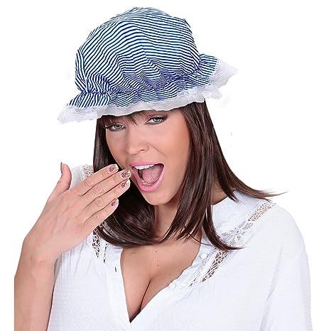 NET TOYS Berretto medievale da notte bianco e blu cappello da cameriera  cuffietta da domestica 882a73236642