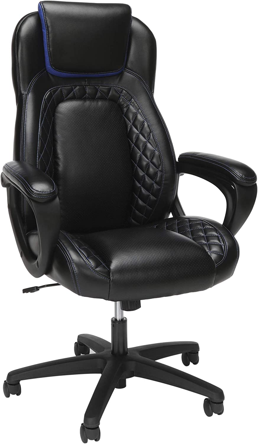 OFM Essentials Collection Racing Style SofThread Leather High Back Office Chair, in Blue (ESS-6060-BLU)