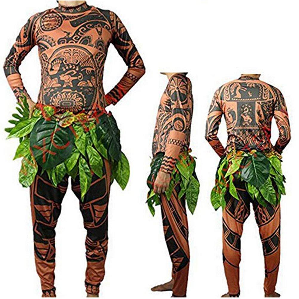 Halloween Adult Men Cosplay Costume Moana Maui Tattoo T Shirt Pants Set Tribal Imprint Tee Trousers with Leaves Skirt (2XL, Brown)
