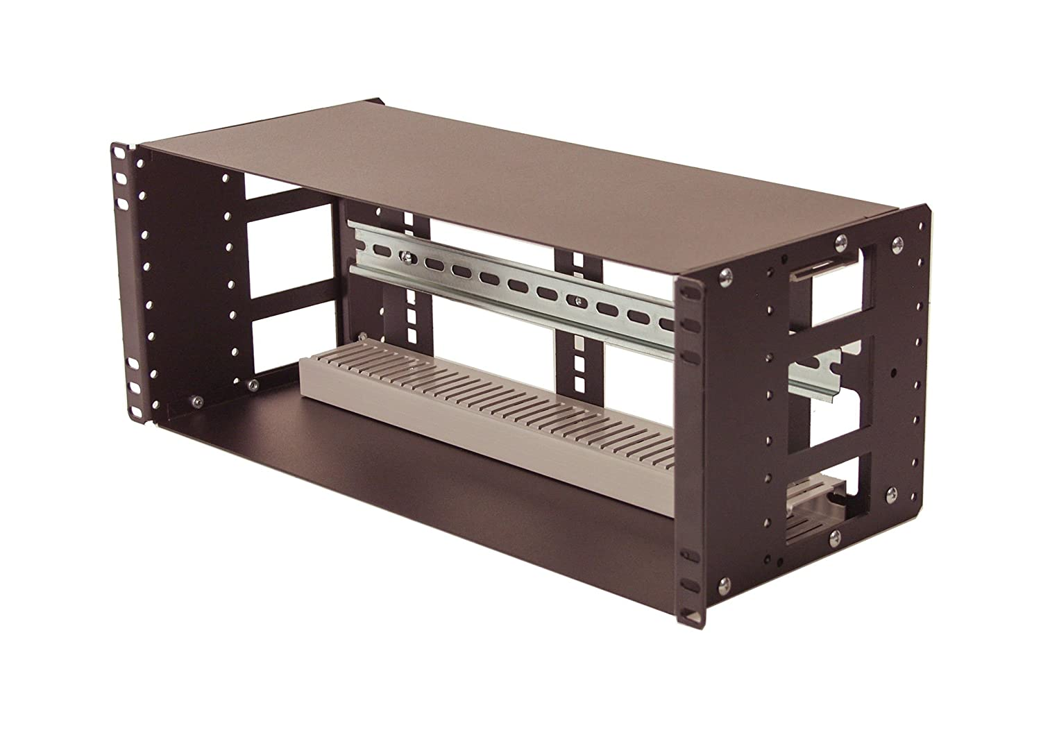 IRP208DB-4U Fully Enclosed Rackmount 4U Compact 8 inch Deep Industrial Din Rail Panel for 19 inch 2-Post Relay Rack or 4-Post Rack Cabinet