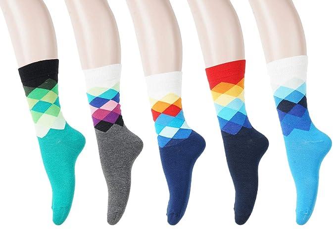 6429e544ff7b AOTILIUS Women's & Men's 5 Pair Colorful Plaid Dress Socks Art Funny Casual  Crew Socks (