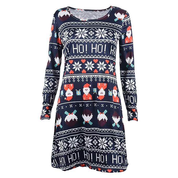 SODIAL(R) Herbst Winter hochwertiges Weihnachtskleid fuer Frauen ...