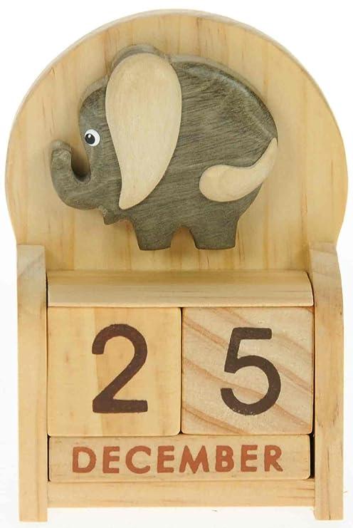 Calendrier Perpetuel Bois.L Elephant Calendrier Perpetuel En Bois Traditionnel