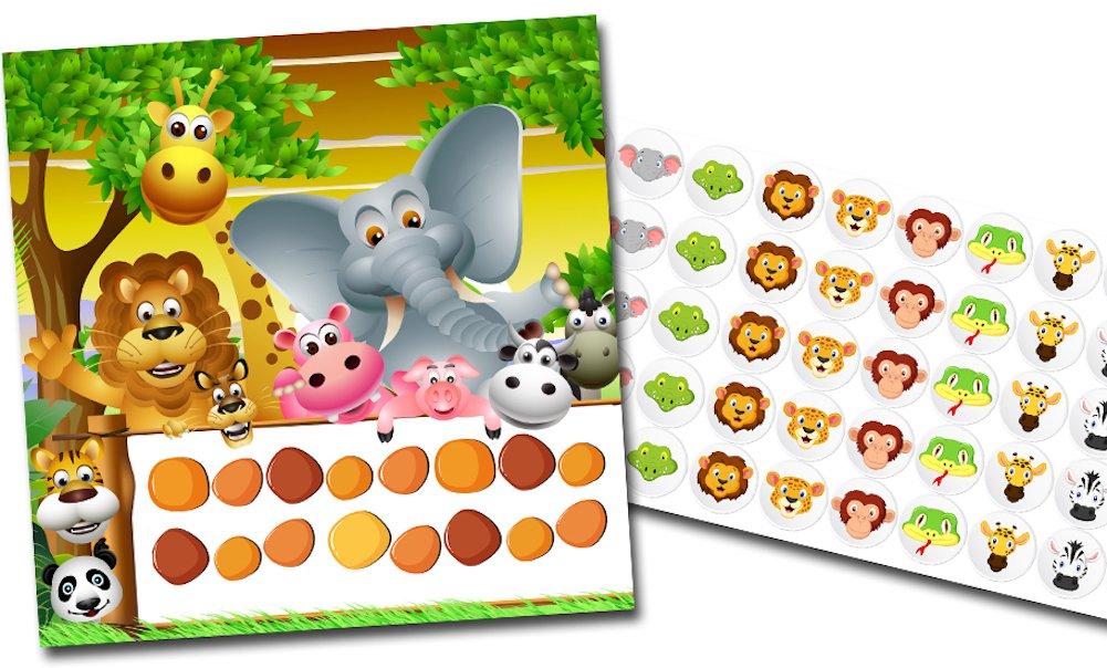 By Diana Belohnungssystem für Kinder Motiv Safari + Tiere - 2 Doppelseitige Blätter + Aufkleber