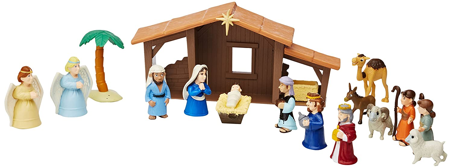 amazon com nativity playset for children 19 pieces by bibletoys