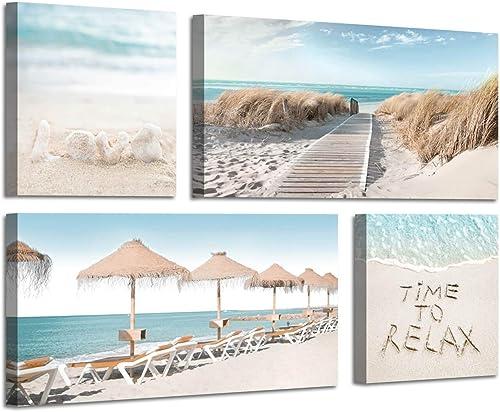 Beach Theme Canvas Artwork Prints Sandybeach Pathway Beach Chairs and Umbrella Wall Art for Living Room 12 x 12 x 2 Panels 24 x 12 x 2 Panels