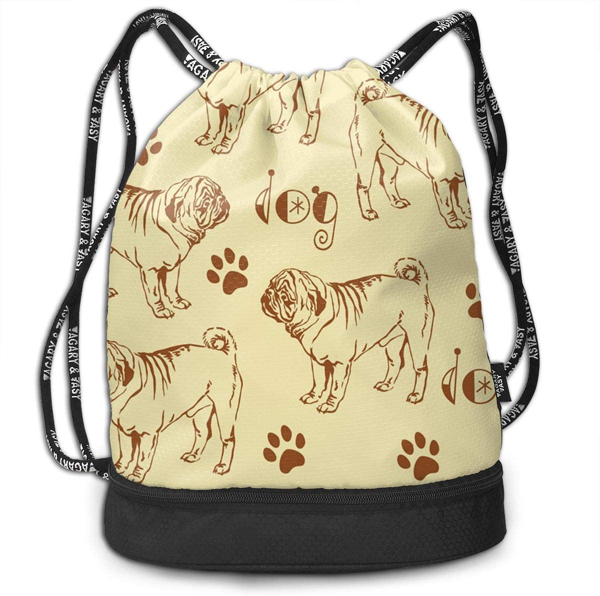 Drawstring Backpack Pug Life Shoulder Bags